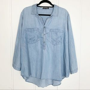 New Leaf Chambray Plus Size Tunic Top N5